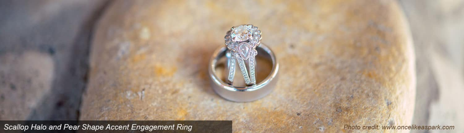 Scallop Halo and Pear Shape Accent Engagement Ring