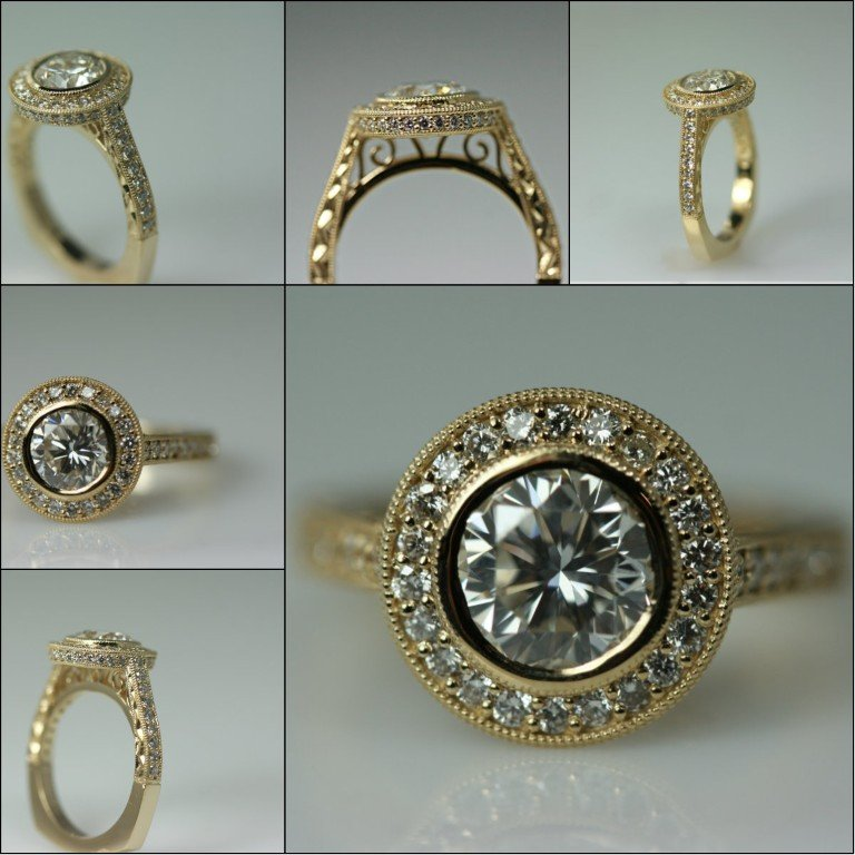 Collage of 1.17 carat halo all in 14 karat yellow gold ring