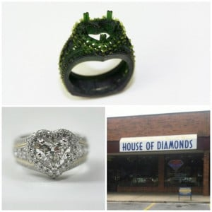 Heart shaped diamond collage with House of Diamond store