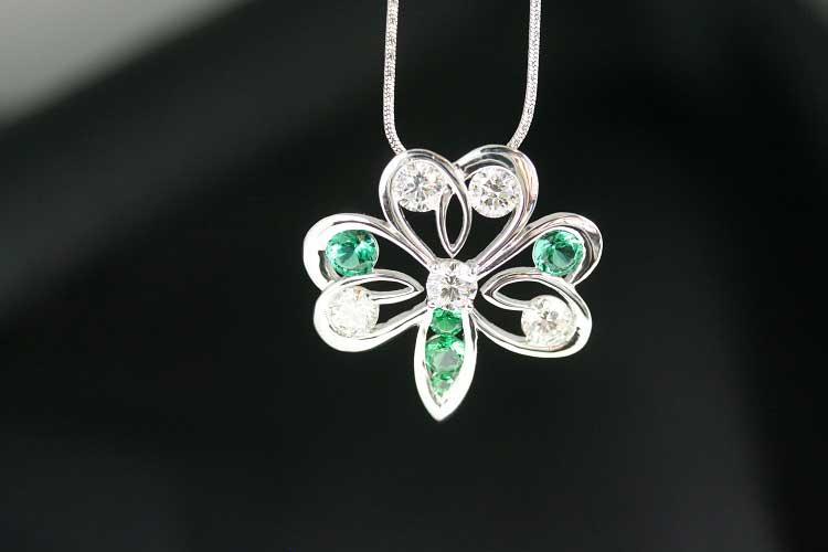 Diamond Pendant with Green Helenites