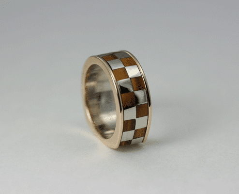 Tiger Eye and Two-Tone Wedding Ring