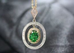 Custom Necklace with Emerald Stone
